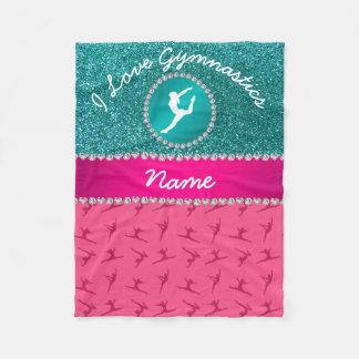 Name pink gymnastics robin blue glitter silhouette fleece blanket