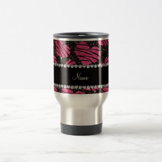 Name pink hearts black glitter zebra stripes travel mug