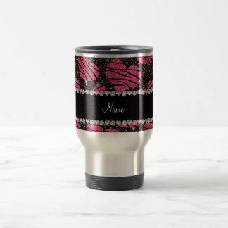 Name pink hearts black glitter zebra stripes travel mug