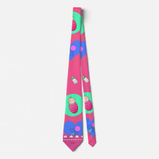 Name pink hearts dots stars baby rattle bottle neck tie