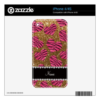 Name pink hearts gold glitter zebra stripes decals for the iPhone 4