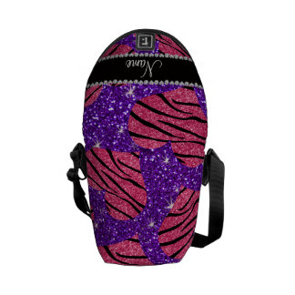 Name pink hearts indigo purple glitter zebra messenger bags