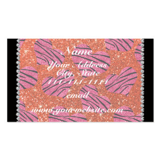Name pink hearts neon orange glitter zebra stripes Double-Sided standard business cards (Pack of 100)