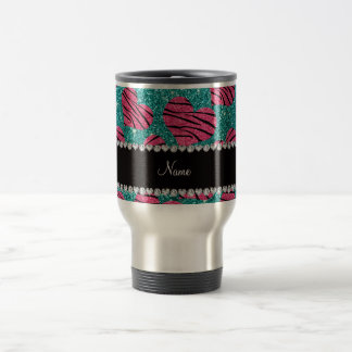 Name pink hearts robin egg blue glitter zebra travel mug