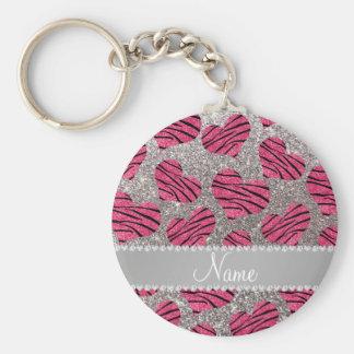 Name pink hearts silver glitter zebra stripes keychain
