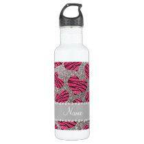 Name pink hearts silver glitter zebra stripes stainless steel water bottle