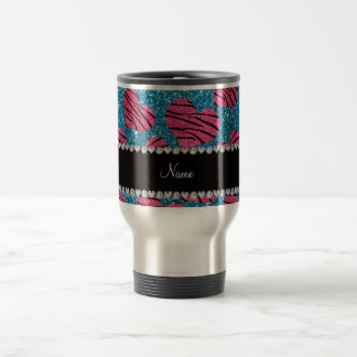 Name pink hearts sky blue glitter zebra stripes travel mug