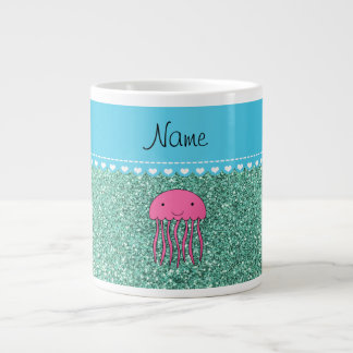 Name pink jellyfish seafoam green glitter large coffee mug