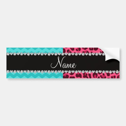 Name pink leopard turquoise chevrons bumper sticker