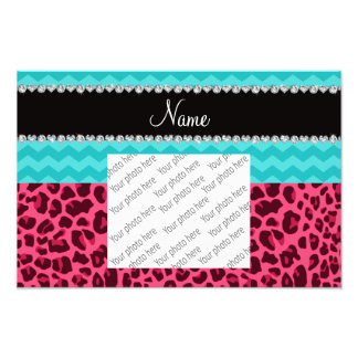 Name pink leopard turquoise chevrons photo print