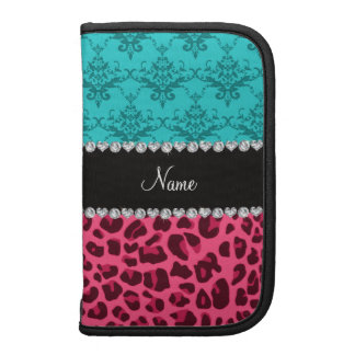 Name pink leopard turquoise damask folio planner