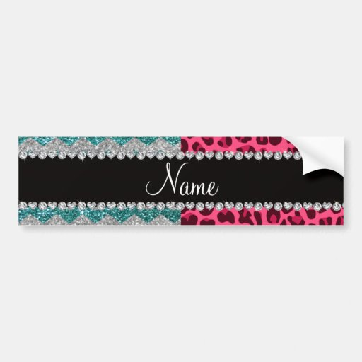 Name pink leopard turquoise glitter chevrons bumper stickers