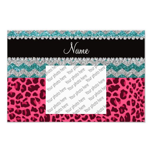 Name pink leopard turquoise glitter chevrons photo