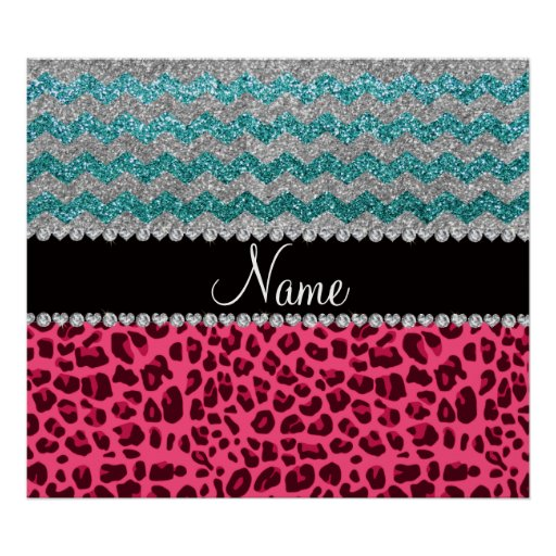 Name pink leopard turquoise glitter chevrons poster