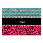 Name pink leopard turquoise glitter chevrons table card