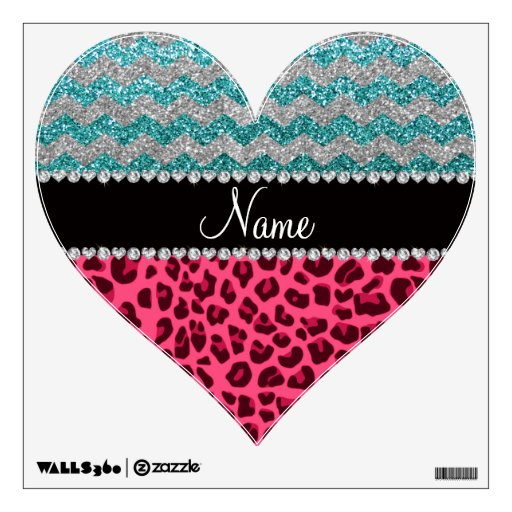 Name pink leopard turquoise glitter chevrons wall graphics