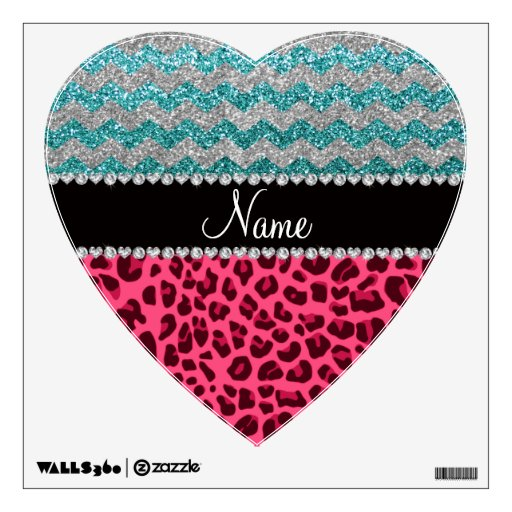 Name pink leopard turquoise glitter chevrons room graphic