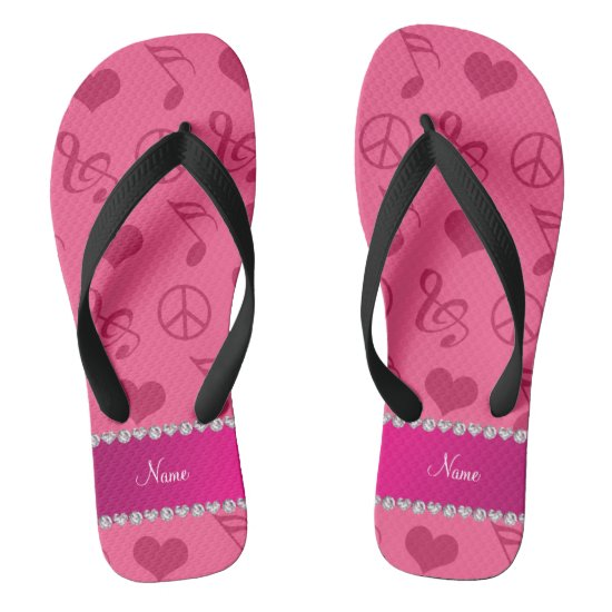 Name pink music notes hearts peace sign flip flops
