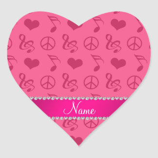 Name pink music notes hearts peace sign heart sticker
