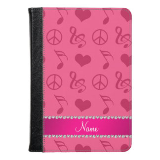 Name pink music notes hearts peace sign kindle case