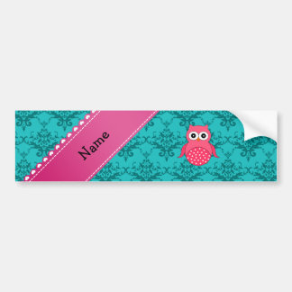 Name pink owl turquoise damask pink stripe bumper sticker