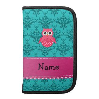 Name pink owl turquoise damask pink stripe folio planners