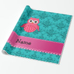 Name pink owl turquoise damask pink stripe wrapping paper