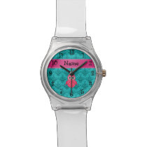 Name pink owl turquoise damask pink stripe wrist watch