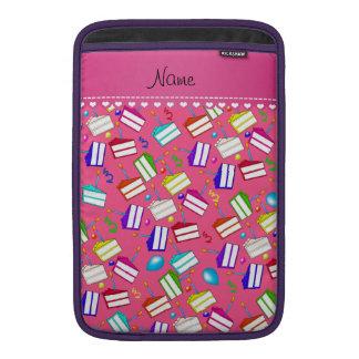 Name pink rainbow cakes balloons swirls MacBook sleeve