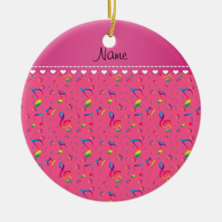 Name pink rainbow music notes stars ceramic ornament