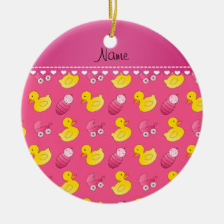 Name pink rubberduck baby carriage ceramic ornament