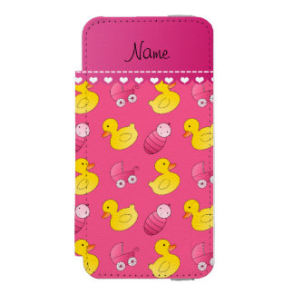 Name pink rubberduck baby carriage iPhone SE/5/5s wallet case