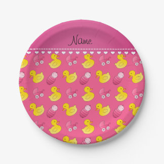 Name pink rubberduck baby carriage paper plate
