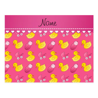 Name pink rubberduck baby carriage postcard