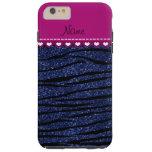 Name pink stripe navy blue glitter zebra stripes tough iPhone 6 plus case