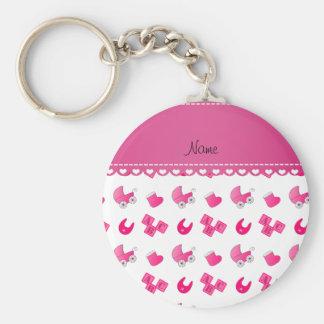 Name pink white baby bib blocks carriage booties basic round button keychain