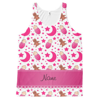 Name pink white baby teddy bear stars moons All-Over print tank top