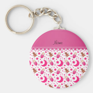 Name pink white baby teddy bear stars moons basic round button keychain