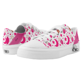Name pink white baby teddy bear stars moons Low-Top sneakers