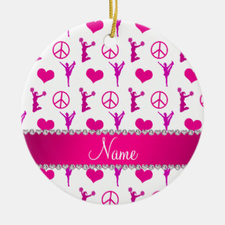 Name pink white cheerleading hearts peace sign ceramic ornament