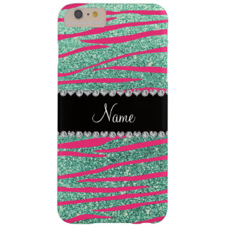 Name pink zebra stripes seafoam green glitter barely there iPhone 6 plus case
