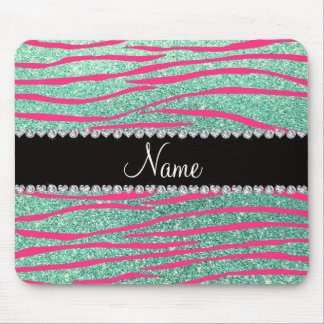 Name pink zebra stripes seafoam green glitter mouse pad