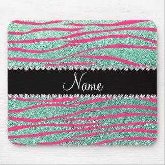 Name pink zebra stripes seafoam green glitter mouse pads