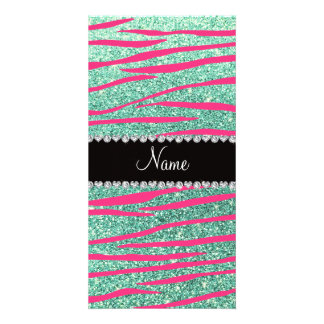 Name pink zebra stripes seafoam green glitter photo card template
