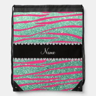 Name pink zebra stripes seafoam green glitter drawstring backpacks
