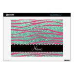 Name pink zebra stripes seafoam green glitter skin for acer chromebook