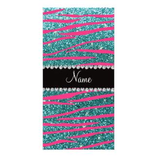 Name pink zebra stripes turquoise glitter photo greeting card