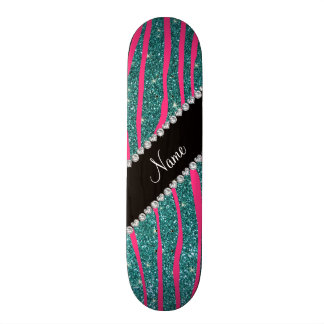 Name pink zebra stripes turquoise glitter skate decks