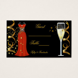 Name Place Fantastic Red Dress Black Gold Business Card