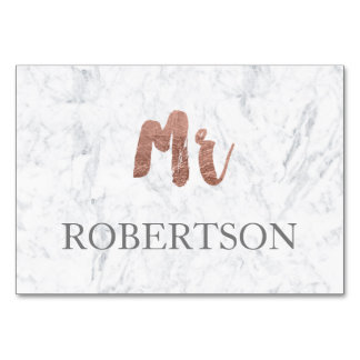 Name place rose gold typography marble wedding card
